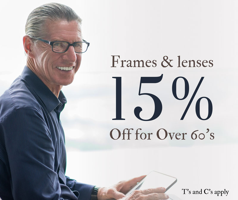 15% off for over 60 banner